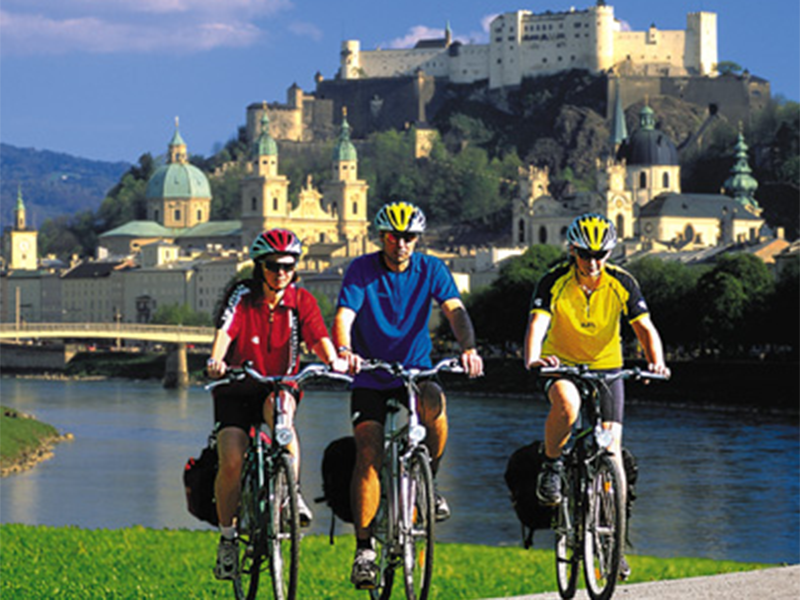 "Ride across the mellow and hilly landscape of the lake district of the Salzkammergut towards Linz and the Danube. Follow Danube Cycle Route to Strudengau and the Wachau until you finally reach the ""Walzer"" city of Vienna."